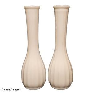 Milk Glass Vases w/ Ribbed Pattern - Set Of Two